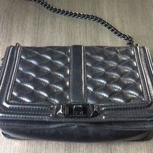 Rebecca Minkoff Quilted Love crossbody blk hrdware